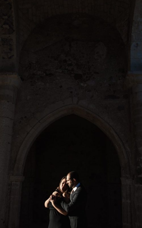Engagement in the ruins of a church, Sardinia