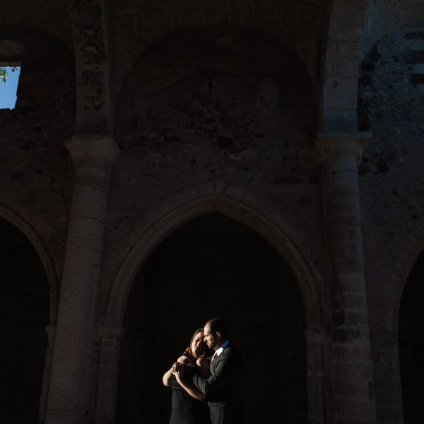 Engagement in the ruins of a church